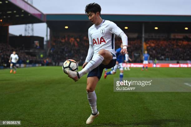 Tottenham Hotspur's South Korean striker Son HeungMin controls the ball during the English FA Cup fifth round football match between Rochdale and...