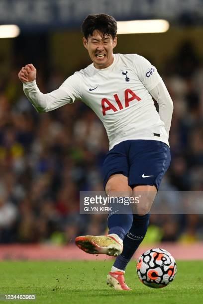 Tottenham Hotspur's South Korean striker Son Heung-Min passes the ball during the pre-season friendly football match between Chelsea and Tottenham...