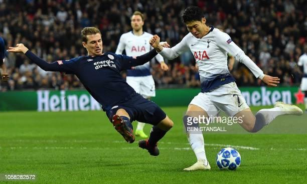 Tottenham Hotspur's South Korean striker Son HeungMin shoots but fails to score during the UEFA Champions League group B football match between...