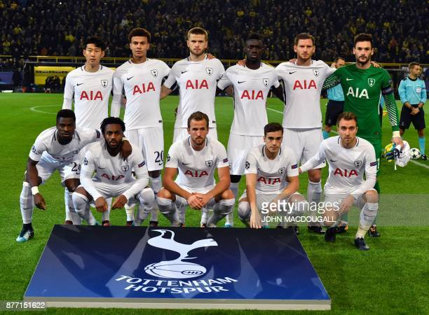 Tottenham Hotspur's South Korean striker Son HeungMin Tottenham Hotspur's English midfielder Dele Alli Tottenham Hotspur's English defender Eric Dier...