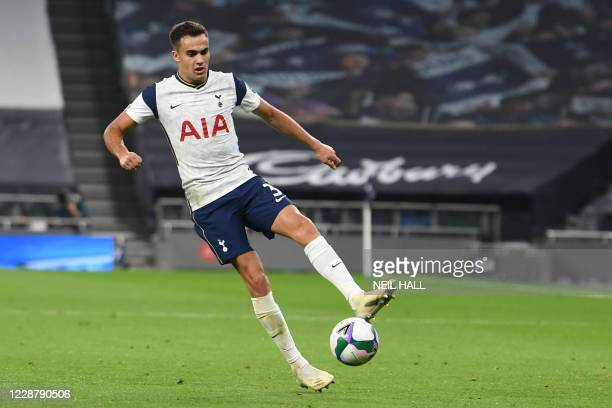 Tottenham Hotspur's Spanish defender Sergio Reguilon controls the ball during the English League Cup fourth round football match between Tottenham...