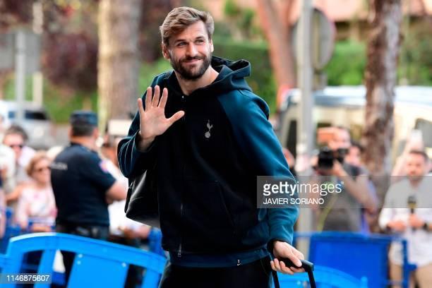Tottenham Hotspur's Spanish striker Fernando Llorente arrives to the team's hotel in Madrid on May 29 2019 Liverpool and Tottenham Hotspur will face...