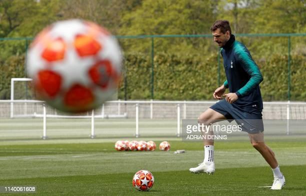 Tottenham Hotspur's Spanish striker Fernando Llorente attends a team training session at Tottenham Hotspur's Enfield Training Centre, north London,...