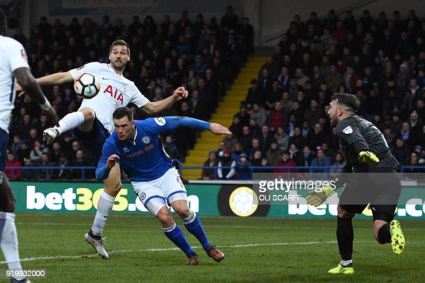 Tottenham Hotspur's Spanish striker Fernando Llorente cannot connect a this cross during the English FA Cup fifth round football match between...
