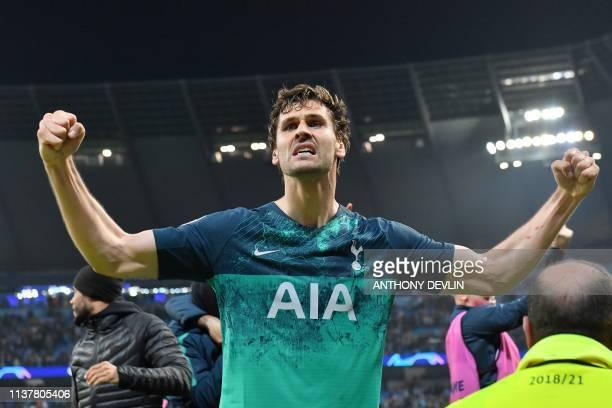 Tottenham Hotspur's Spanish striker Fernando Llorente celebrates at the final whistle during the UEFA Champions League quarter final second leg...