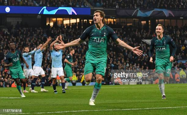 TOPSHOT Tottenham Hotspur's Spanish striker Fernando Llorente celebrates scoring his team's third goal during the UEFA Champions League quarter final...