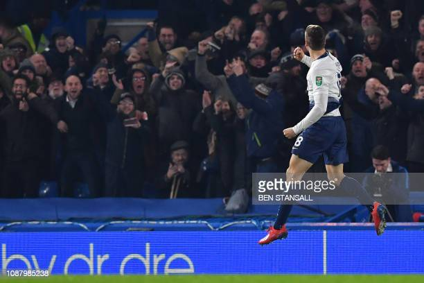 Tottenham Hotspur's Spanish striker Fernando Llorente celebrates in front of Tottenham's supporters after scoring their first goal during the English...