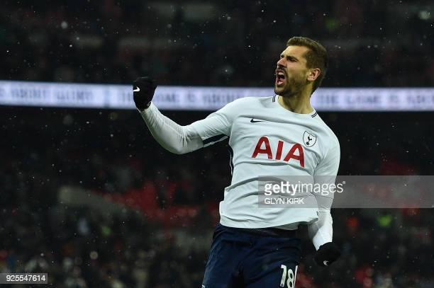 Tottenham Hotspur's Spanish striker Fernando Llorente celebrates scoring the team's second goal during the English FA Cup 5th round replay football...