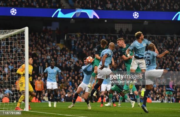 Tottenham Hotspur's Spanish striker Fernando Llorente scores his team's third goal during the UEFA Champions League quarter final second leg football...