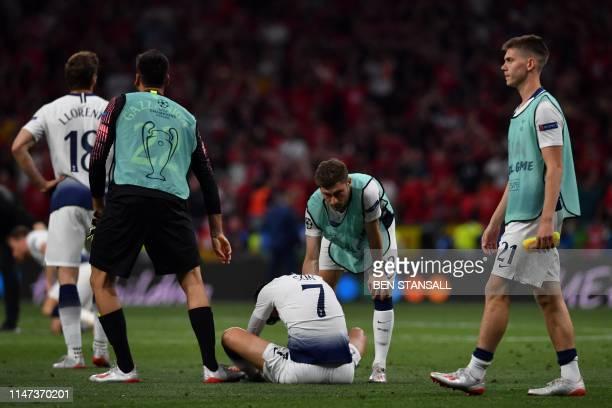 Tottenham Hotspur's Spanish striker Fernando Llorente, Tottenham Hotspur's South Korean striker Son Heung-Min, Tottenham Hotspur's Danish midfielder...