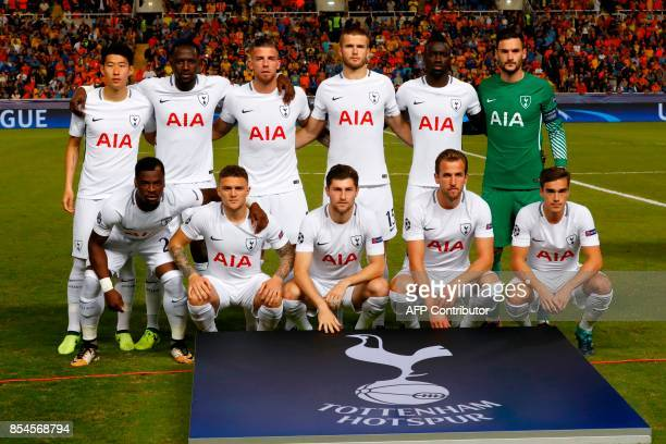Tottenham Hotspur's starting eleven Korean forward HeungMin Son French midfielder Moussa Sissoko Belgian defender Toby Alderweireld British...