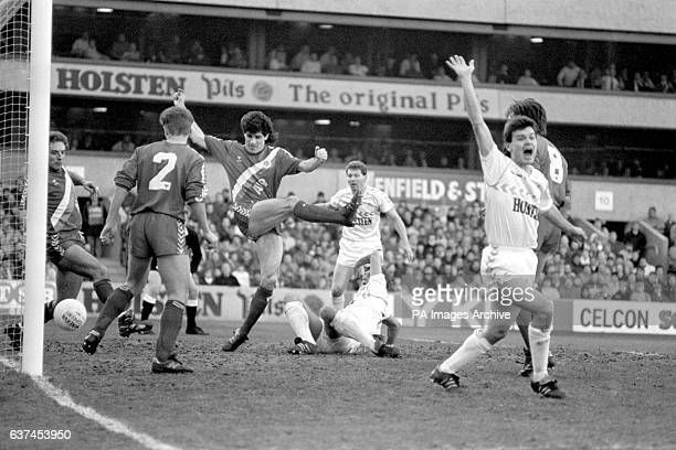 Tottenham Hotspur's Steve Hodge celebrates as the ball evades Crystal Palace's Paul Brush Stebbing and Gary O'Reilly to cross the line for the first...