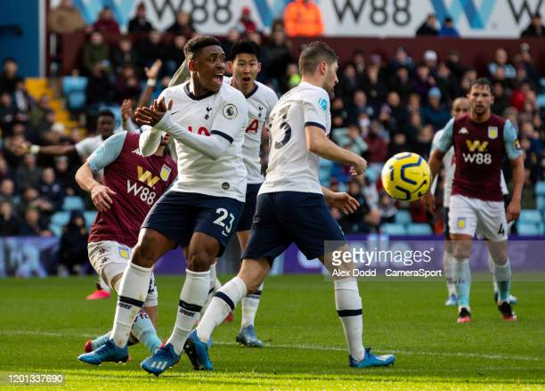 Tottenham Hotspur's Steven Bergwijn appeals for hand ball during the Premier League match between Aston Villa and Tottenham Hotspur at Villa Park on...
