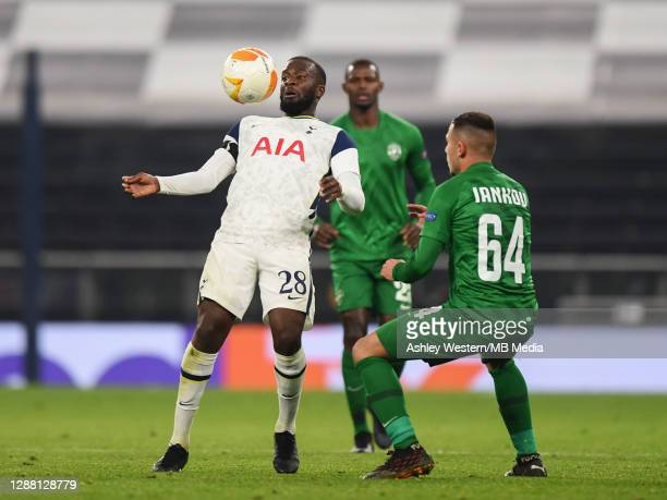 Tottenham Hotspur's Tanguy Ndombele holds off the challenge from PFC Ludogorets Razgrad's Dominic Yankov during the UEFA Europa League Group J stage...