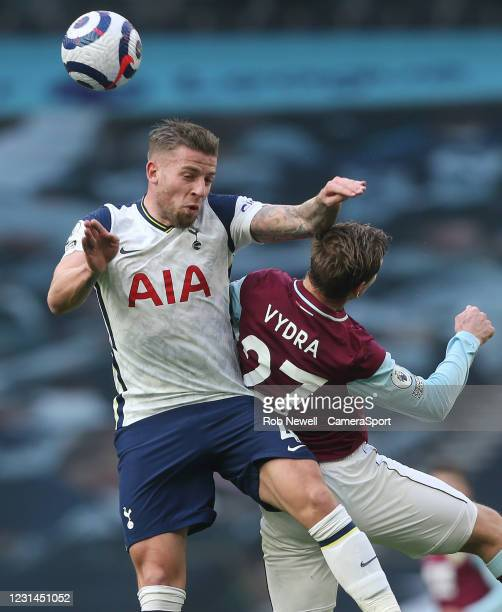 Tottenham Hotspur's Toby Alderweireld and Burnley's Matej Vydra during the Premier League match between Tottenham Hotspur and Burnley at Tottenham...