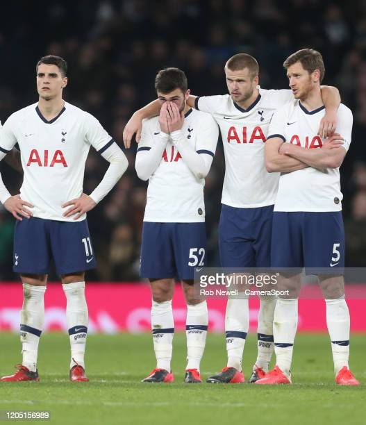 Tottenham Hotspur's Troy Parrott after missing his penalty in the shootout during the FA Cup Fifth Round match between Tottenham Hotspur and Norwich...