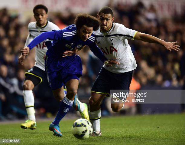 Tottenham Hotspur's U21's Cameron CarterVickers and Chelsea's U21's Isaiah Brown battle for the ball