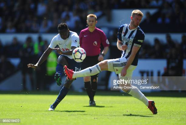 Tottenham Hotspur's Victor Wanyama has a shot at goal during the Premier League match between West Bromwich Albion and Tottenham Hotspur at The...