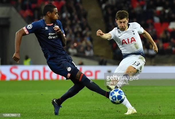 Tottenham Hotspur's Welsh defender Ben Davies shoots but fails to score during the UEFA Champions League group B football match between Tottenham...