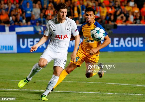 Tottenham Hotspur's Welsh defender Ben Davies vies for the ball against Apoel FC's Belgian striker Igor de Camargo during the UEFA Champions League...