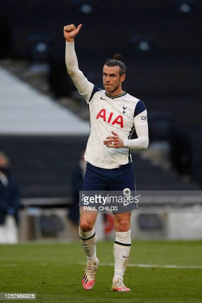 Tottenham Hotspur's Welsh midfielder Gareth Bale reacts after the final whistle during the English Premier League football match between Tottenham...