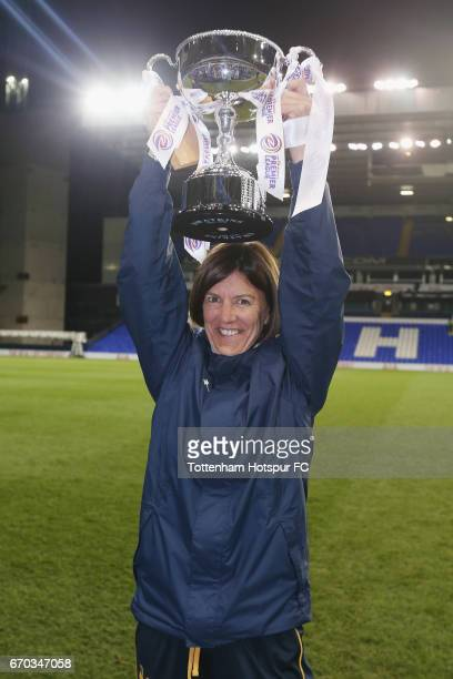 Tottenham Ladies manager Karen Hills during the FA Women's Premier League match between Tottenham Hotspur and West Ham United at White Hart Lane on...