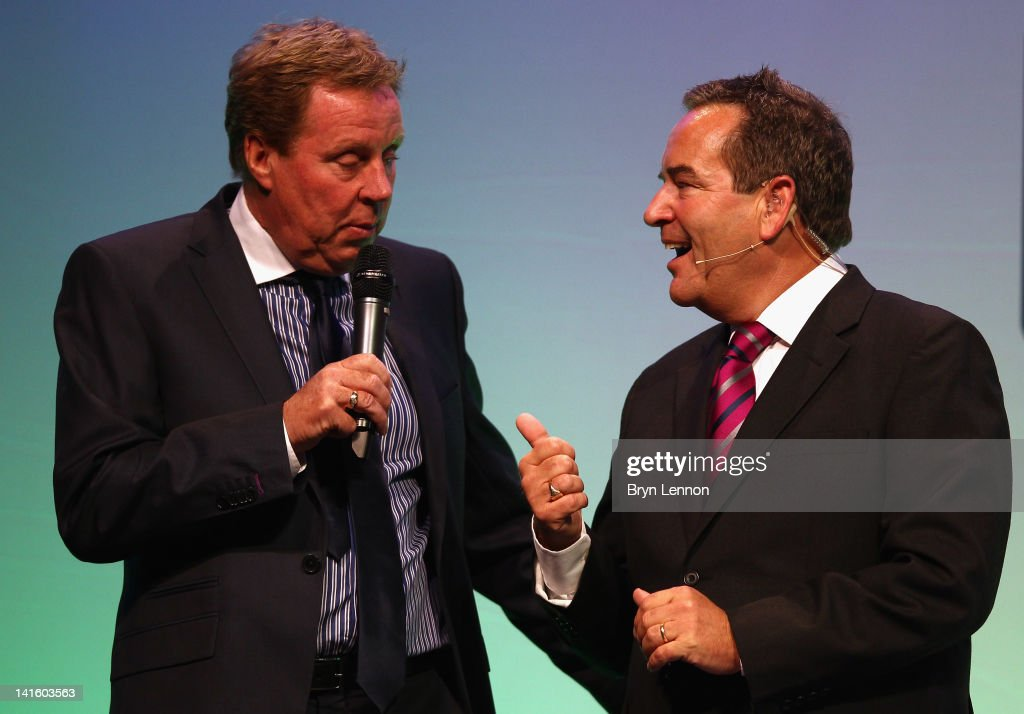 Tottenham Manager Harry Redknapp (l) chats to Jeff Stelling during Gillette Soccer Saturday Live with Jeff Stelling on March 19, 2012 at the Bournemouth International Centre in Bournemouth, England.