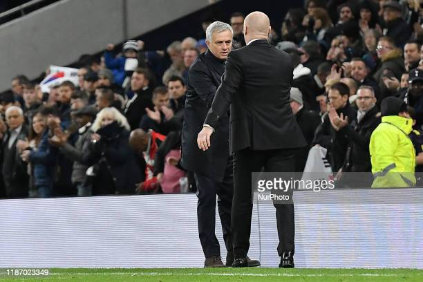 Tottenham manager Jose Mourinho and Burnley manager Sean Dyche during the Premier League match between Tottenham Hotspur and Burnley at White Hart...