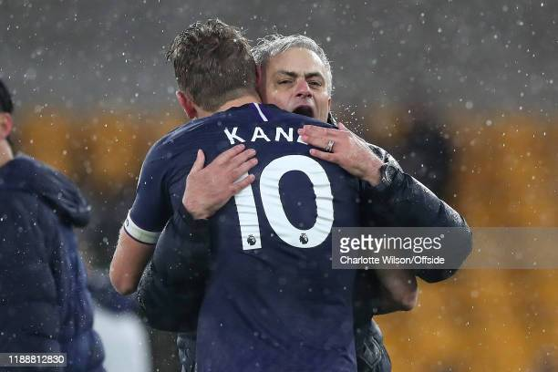 Tottenham manager Jose Mourinho congratulates Harry Kane after their 2-1 victory during the Premier League match between Wolverhampton Wanderers and...