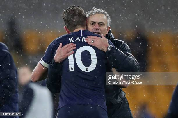 Tottenham manager Jose Mourinho congratulates Harry Kane after their 21 victory during the Premier League match between Wolverhampton Wanderers and...