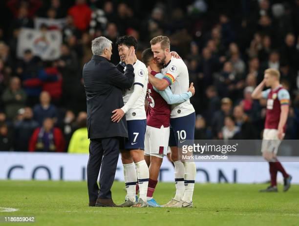 Tottenham manager Jose Mourinho embraces Heung-Min Son of Tottenham as former Tottenham player, Aaron Lennon of Burnley, is hugged by Harry Kane...