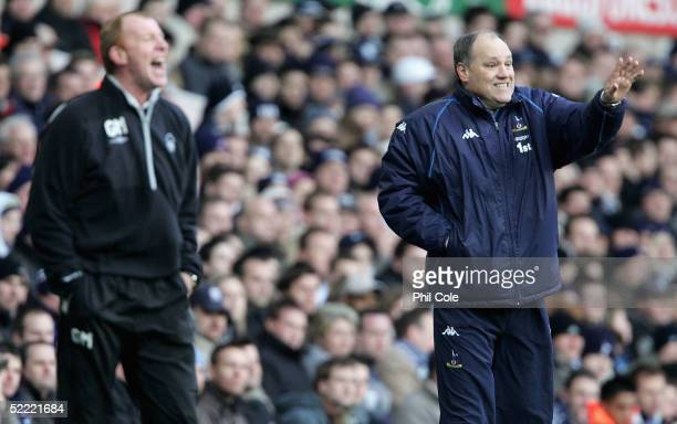 Tottenham Manager, Martin Jol and Nottingham Manager, Gary Megson yells instructions from the sidelines during the FA Cup Fifth round match between...