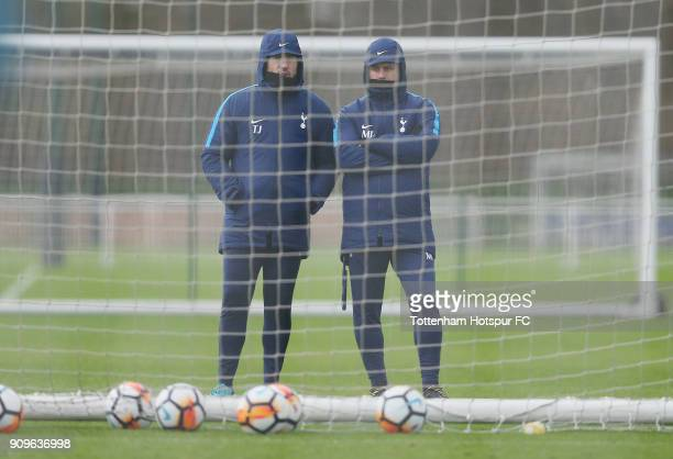 Tottenham manager mauricio Pochattino and goalkeeping coach Toni Jimenez during the Tottenham Hotspur training session at Tottenham Hotspur Training...