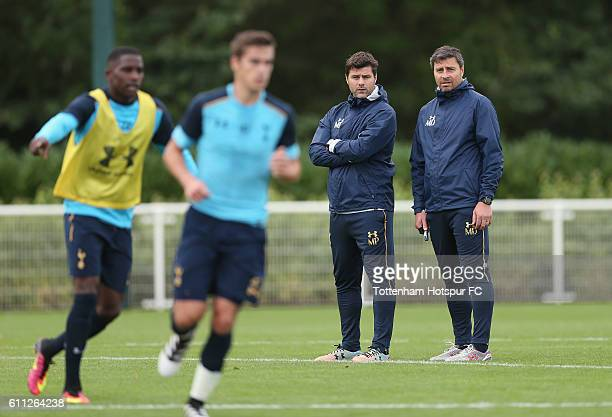 Tottenham manager Mauricio Pochettino and First Team Coach Miguel D'Agostino during the Tottenham Hotspur training session at the Tottenham Hotspur...