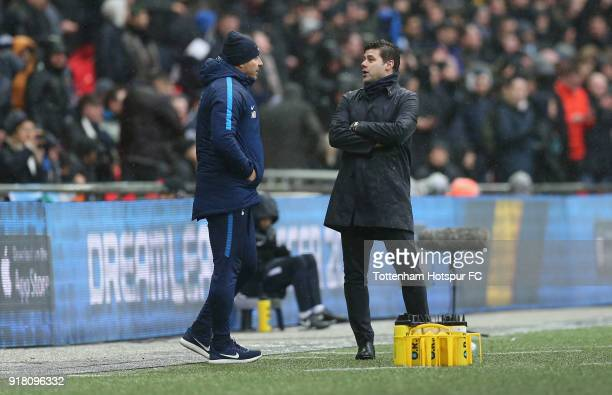 Tottenham manager Mauricio Pochettino and head coach Miguel D'Agostino during the Premier League match between Tottenham Hotspur and Arsenal at...