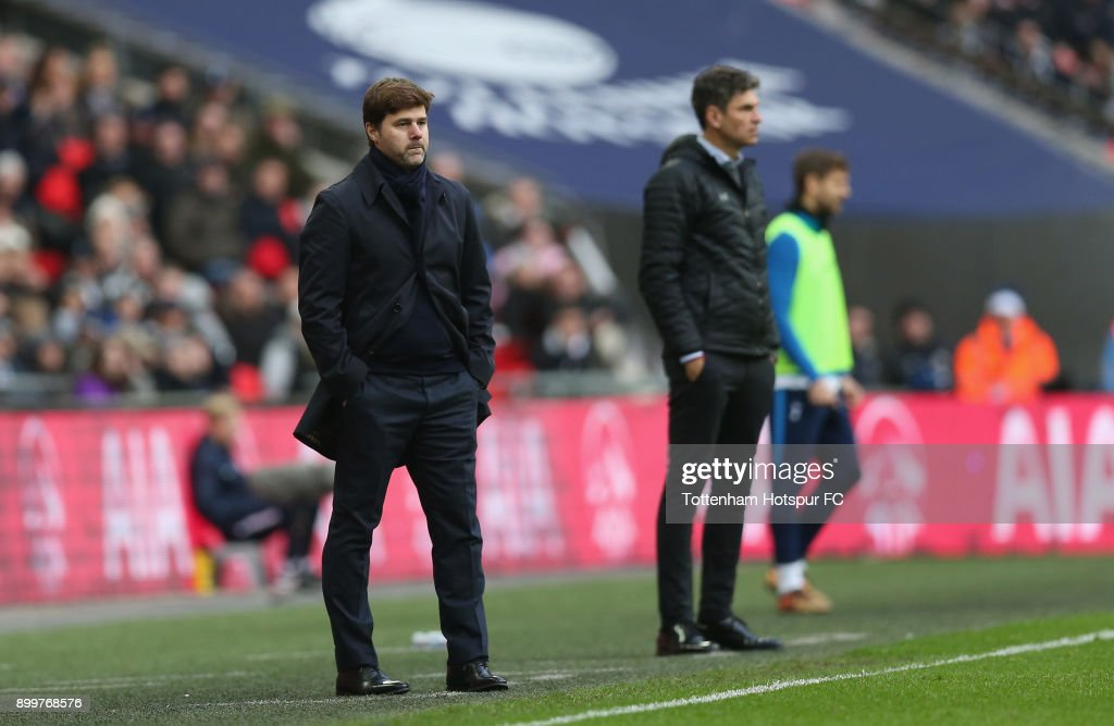 Tottenham manager Mauricio Pochettino and Southampton manager Mauricio Pellegrino during the Premier League match between Tottenham Hotspur and Southampton at Wembley Stadium on December 26, 2017 in London, England.