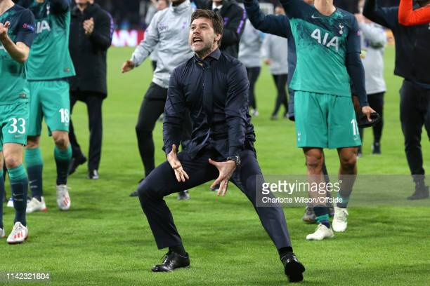 Tottenham manager Mauricio Pochettino celebrates during the UEFA Champions League Semi Final second leg match between Ajax and Tottenham Hotspur at...