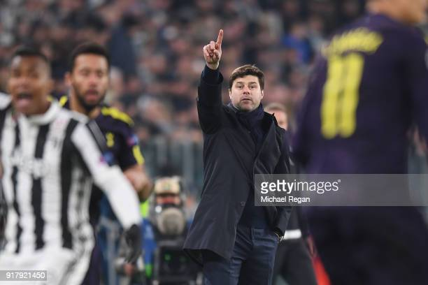 Tottenham manager Mauricio Pochettino gestures during the UEFA Champions League Round of 16 First Leg match between Juventus and Tottenham Hotspur at...