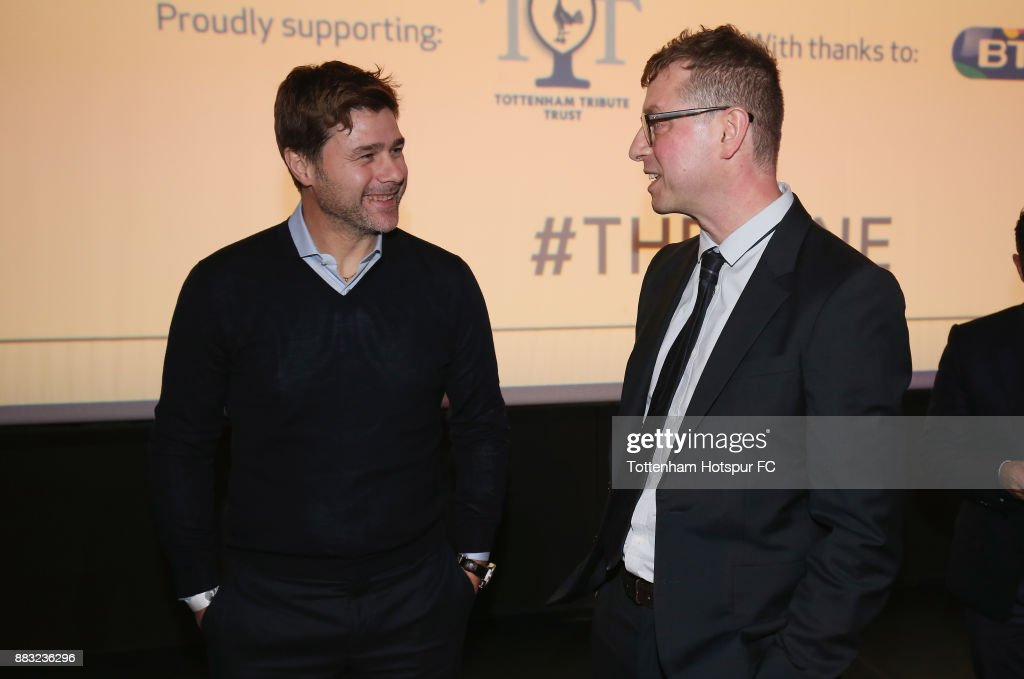 Tottenham manager Mauricio Pochettino talks to director of 'The Lane' Luke Mellows during the premiere of 'The Lane' documentary film at BT Sport Studios on November 30, 2017 in Stratford, England.