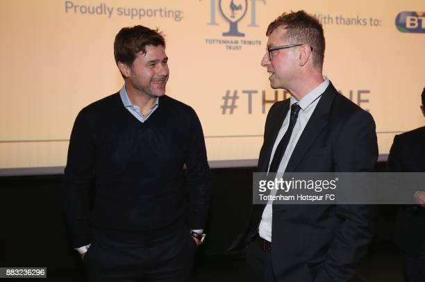 Tottenham manager Mauricio Pochettino talks to director of 'The Lane' Luke Mellows during the premiere of 'The Lane' documentary film at BT Sport...