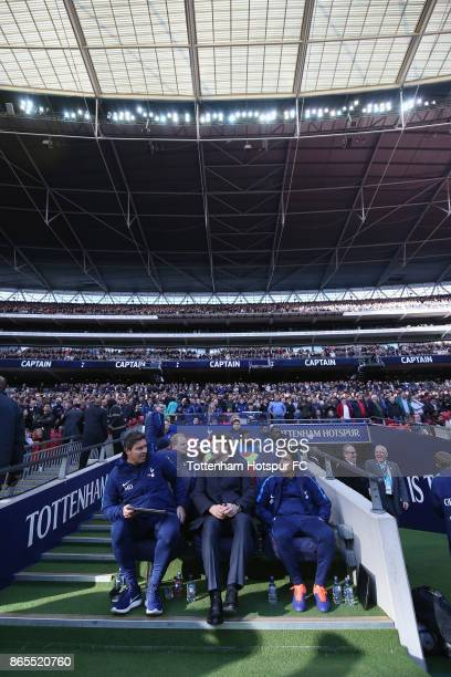 Tottenham manager Mauricio Pochettino with assistant Jesus Perez and head coach Miguel D'Agostino during the Premier League match between Tottenham...