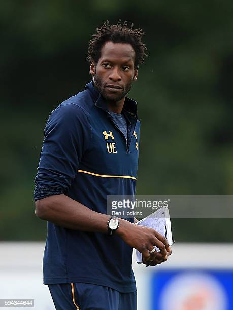 Tottenham manager Ugo Ehiogu looks on during the Premier League 2 match between Reading and Tottenham Hotspur on August 22 2016 in Wokingham England