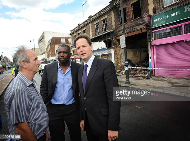 Tottenham MP David Lammy and Deputy Prime Minister Nick Clegg meet local residents and business people including Jeweller Steve Moore who lost his...