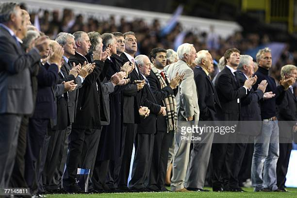 Tottenham players from the past line up prior to the 125th anniversay Barclays Premier League match between Tottenham Hotspur and Aston Villa at...