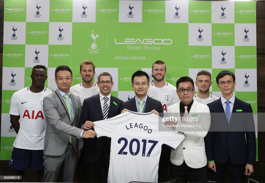 Tottenham players, Victor Wanyama, Harry Kane, Eric Dier and Kieran Trippier with Parker Xie of Leagoo, Fran Jones of Tottenham Hotspur, CEO Johnson Zhuang of Leagoo, Wenping Sun of Shenzhen Mobile Cpommunications and Donny Zhou of Leagoo during the Tottenham Hotspur and LEAGOO Partnership Launch at Tottenham Hotspur Training Centre on August 17, 2017 in London, England.