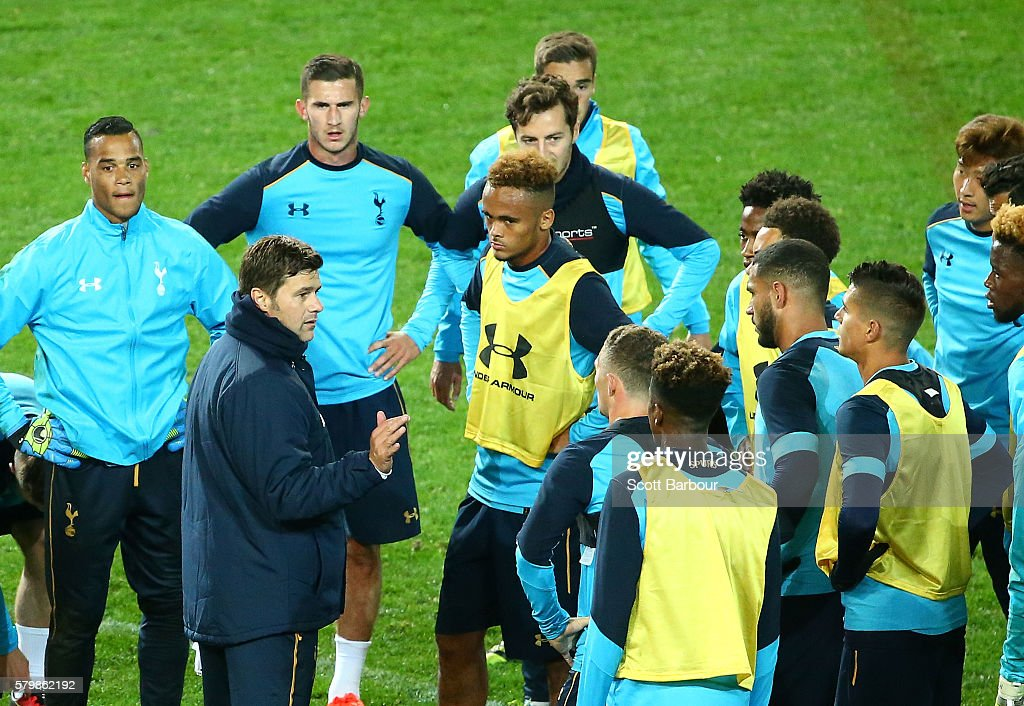 Tottenham Team Manager, Mauricio Pochettino speaks to his team during a Tottenham Hotspur training session at AAMI Park on July 25, 2016 in Melbourne, Australia.
