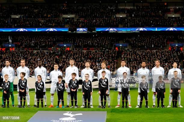 Tottenham team Tottenham Hotspur's French goalkeeper Hugo Lloris Tottenham Hotspur's English striker Harry Kane Tottenham Hotspur's Colombian...