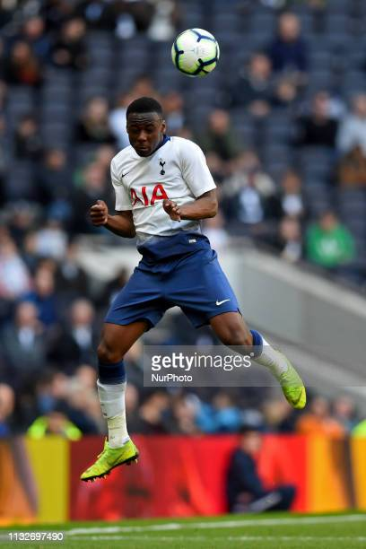 Tottenham U18 midfielder Jubril Okedina heads the ball during the Under 18 Premier League match between Tottenham Hotspur and Southampton at the...