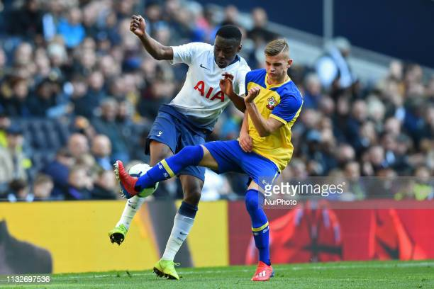 Tottenham U18 midfielder Jubril Okedina in action during the Under 18 Premier League match between Tottenham Hotspur and Southampton at the Tottenham...