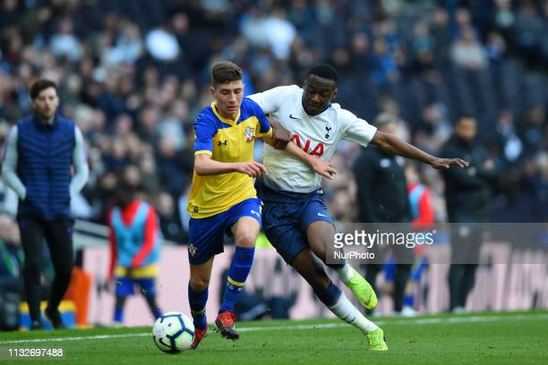 Tottenham U18 midfielder Jubril Okedina puts on the pressure during the Under 18 Premier League match between Tottenham Hotspur and Southampton at...